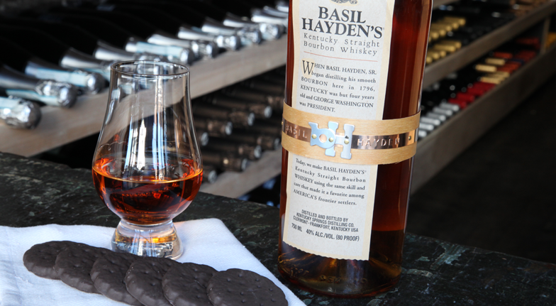 Bourbon and Girl Scout Cookie Pairing - Thin Mints and Basil Hayden's